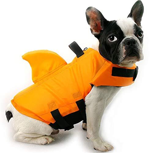 TTBD Rettungswesten Für Hunde Haifisch, Schwimmhilfe Für Hunde Lifesaver Sicherheitsweste Sommer-Schutz Badeanzug Mit Griff Für Wasser Sicherheit Am Pool Strand Bootfahren,Orange,M