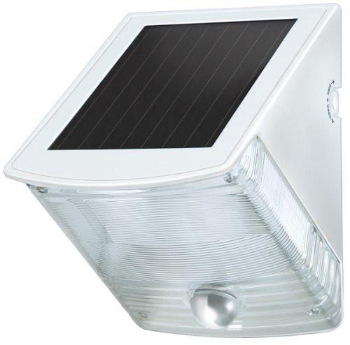 Brennenstuhl LED Solarlampe mit Bewegungsmelder / Außenleuchten mit integriertem Solarpanel und Infrarot Bewegungssensor, Farbe: weiß