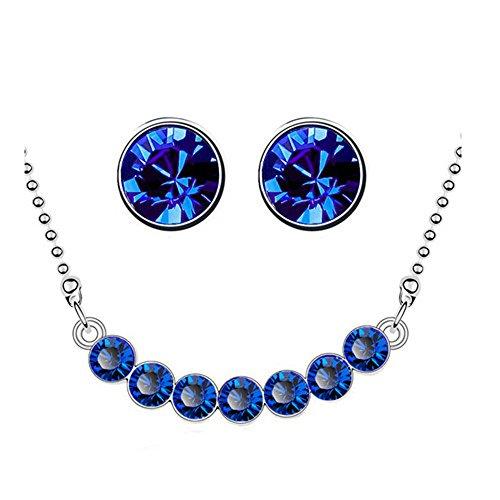 Schmuck-Set, Ohrstecker und Halskette, mit dunkelblauen und silbernen Kristallen, S795