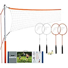 "FUN FOR EVERYONE: This go-to, complete badminton set is a perfect gift for the whole family that can be enjoyed by all ages for unforgettable outdoor fun EASY TO ASSEMBLE NET: The net consists of 1"" inch diameter steel poles that adjust the net from ..."