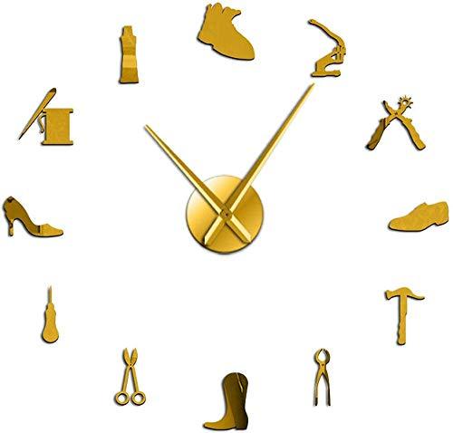 Relojes De Pared Zapatería Zapatero Herramienta Profesión Diy Reloj De Pared Vintage Zapatero Herramienta Martillo De Zapatos Autoadhesivo Acrílico Espejo Adhesivo Reloj Para El Hogar Oficina Escuela