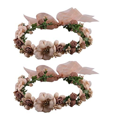 frcolor flor corona frente bandas, corona de flores Garland–Cinta para pelo Corona para Boda Festival Fiesta fotografía Requisiten, 2ST