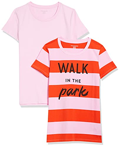 Amazon Essentials 2-Pack Classic Fit Short Sleeve Crewneck Graphic T-Shirt, Lot de 2 Tapis de Rugby Rose/Rouge/Rose Clair