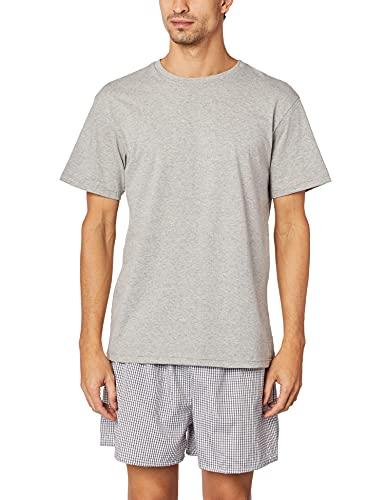 Pijama masculino camiseta manga curta e samba xadrez, Duomo, Mescla, G