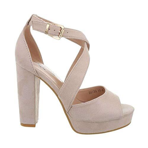 Damen Riemchen Abend Sandaletten High Heels Pumps Slingbacks Velours Peep Toes Party Schuhe Bequem B67 (40, Beige)