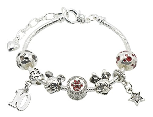 Jewellery Hut 'Mickey & Minnie Mouse' Children's Birthday Bracelet for Girls with Gift Box - Ages Available 1-11 (10th Birthday)