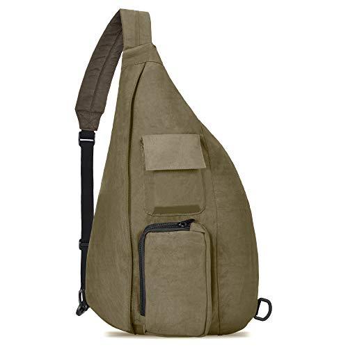 OSOCE Messenger Bag Travel Backpack Shoulder Bag Motorcycle Chest Bag Fits for 10.5-inch iPad (B28-Light Grey, Medium)
