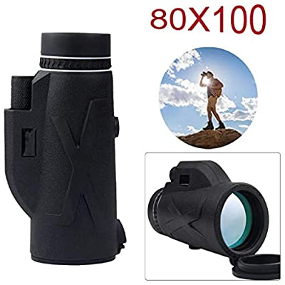Monocular Telescope 80x100 High Definition Telescope Night Vision Monocular Waterproof Telescope Clear High Power Prism Telescopes with Compass for Kids Adults Bird Watching, Hiking, Camping, Concerts