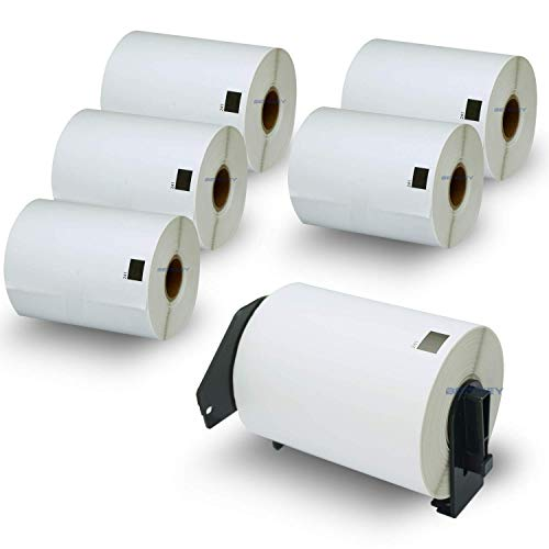 "BETCKEY - Compatible Shipping Labels Replacement for Brother DK-1241 (4"" x 6""), Use with Brother QL Label Printers [6 Rolls/1200 Labels + 1 Reusable Holder Frame]"