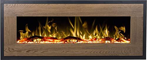 Elektrokamin Mohave Holz | Elektro - Wandkamin | Elektrischer Kamin (750 W oder 1500 W) | LED Feuersimulation | Tiefe nur 13 cm