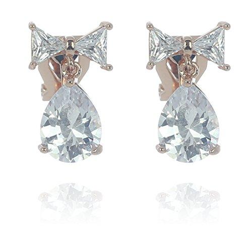 Idin Jewellery – Pendeloque Zirkonia Ohrclips, Rotgoldbeschichtet