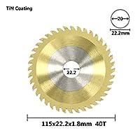 円形鋸刃 木製の炭化物切断刃のための1ピー115x1.8x22x40t丸鋸刃ナノブルーのコーティングされたTCTの鋸刃の木工ツール (Color : TiN Coated)