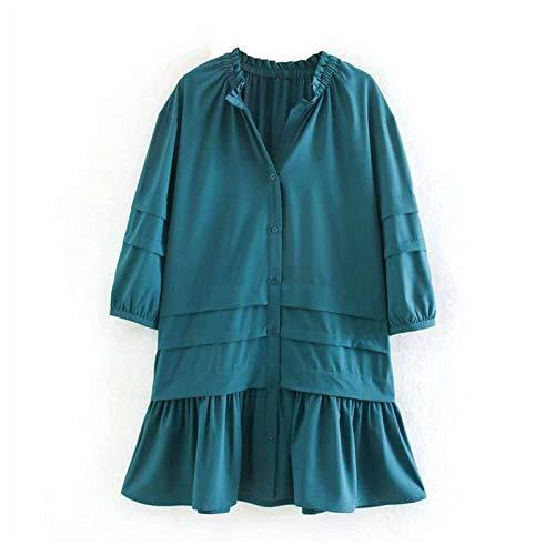 N\C Mujeres Casual sólido plisado vestido V cuello linterna manga moda mini vestido volantes botón más tamaño vestido Sumdress mujer