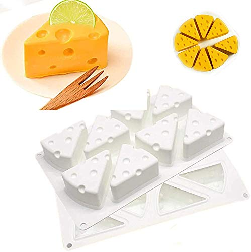 Duyifan 2Pcs 3d Cheese Shape Silicone Mousse Mold For Baking Cake,3d Silicone Mold Cheese Shape 8 Holes/Set,for Pastry Jelly Pudding Fruit Ice Cream Soap Candle Making Tool