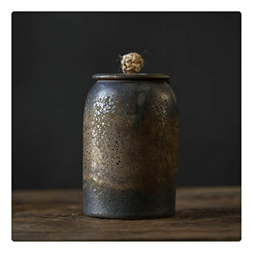 SKREOJF Retro Tea Caddy Cerámica PU Té Té Juego de Té Caja de Almacenamiento Caddy Caramelo Caramelo Recipiente Caja de Almacenamiento Pequeño Caja de Almacenamiento (Color : Style C)