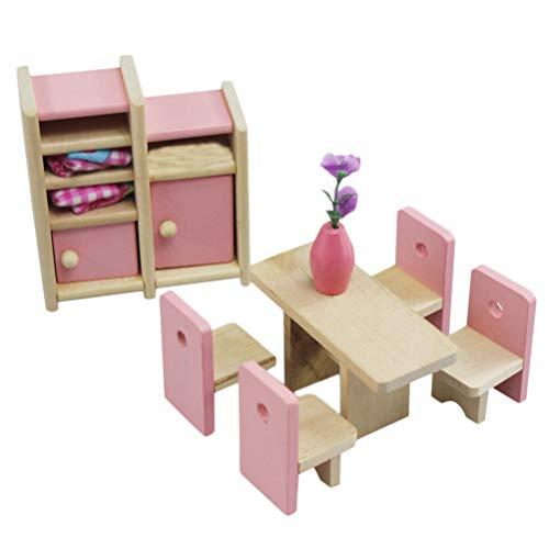 Einsgut Domek dla lalek mebel do pokoju dziecięcego dla rodzeństwa, z łóżkiem, biurkiem, krzesłem i regałem, pasuje do wszystkich domków dla lalek
