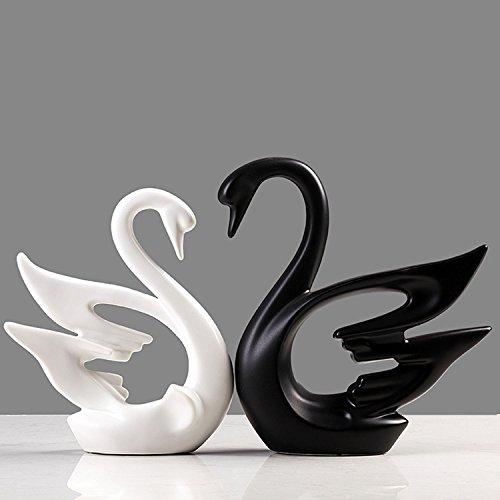 Unibest Dekofiguren aus Porzellan Schwäne 2-er Set dynamisches Design schwarz/weiß