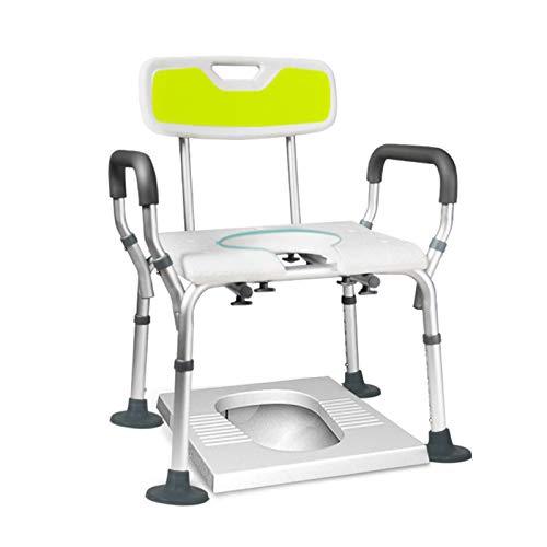ZPTAT Duschstuhl für Senioren Höhenverstellbar Toilettensitz für Erwachsene Dusche Duschhilfe mit Arm- und Rückenlehne, U-Form Bad Duschhocker rutschfeste Sicherheit Belastbar 150Kg,White a