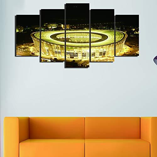 Yuanyuan Art Wall Painting Leinwand Wohnzimmer 5 Panel Nachtansicht der gelben Lichter auf Fußballfeld Malerei Wand Home Decor Poster Wohnzimmer Küche Moderne HD Gedruckt Kunst Bilder ohne R100X55CM