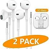 ATETION Auriculares In-Ear Auriculares con microfono, Cancelación de Ruido Auriculares Compatible con iPhone, Android 2 Pack