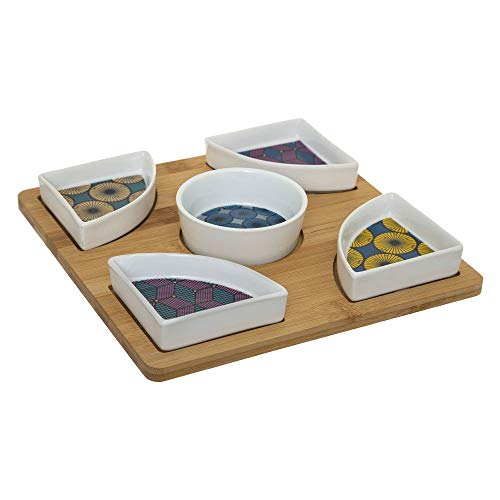 SECRET DE GOURMET Tapasschalen Set: 5 x kleine Schüssel aus Kreramik und 1 x Tablett 23 cm
