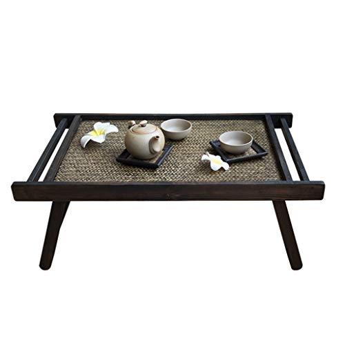 Tables Basse Pliante Tatami en Bois Massif Basse Simple Rétro Fenêtre Balcon Basses (Color : Black, Size : 62 * 35 * 22cm)