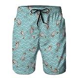 LJKHas232 Pantaloncini da Nuoto Estivi per Ragazzi in Esecuzione bauli Modello Senza Cuciture con Coulisse con happ XXL