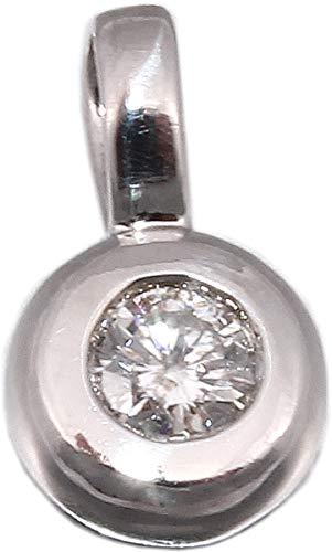 Anhänger Solitär Brillant 0.10 carat w/p2 Weißgold 585 14kt Zargenfassung