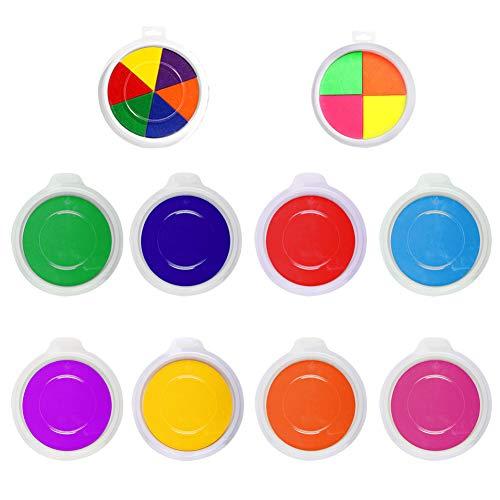 Waschbare Stempelkissen, 10 Stück, Regenbogenfarben, zum Basteln für Fingerabdrücke, Fußabdrücke, Gummistempel, Partner, DIY, Kindergeschenk