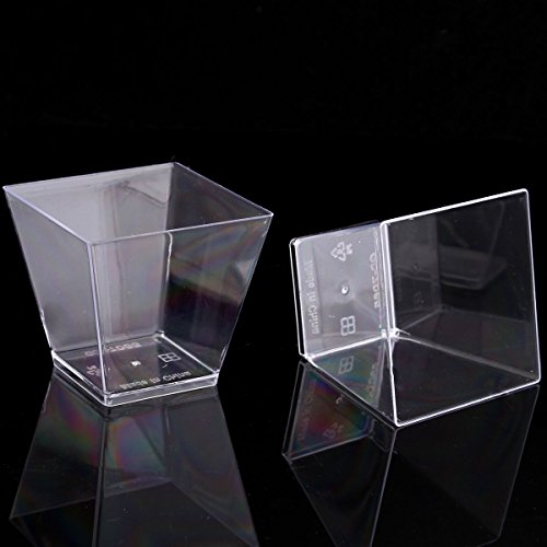 TONGROU 40-Pack Mousse Cake Dessert Square Cups Dishes 7 oz Clear Plastic Dessert Cups