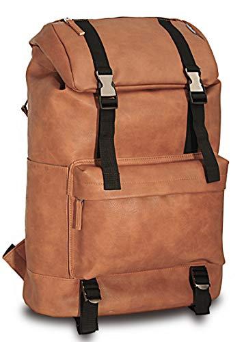 Kingking Bags Leather Backpack Purses for Women Men, Mini Travel Casual Backpacks, Bookbag, Multi Style Fashion Vegan Leather Bag for Purse, Laptop, Tool, Diaper, Travel, School Student