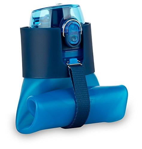 Flexible Sport Faltbare Trinkflasche Blau - Platzsparende Sportflasche, 650ml, BPA frei, lebensmittelechtes Silikon, auslaufsichere Sporttrinkflasche - Ideal für Sport, Freizeit, Outdoor und Reisen