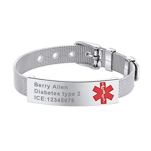 PROSTEEL Personalizados Pulseras de Acero Inoxidable con Alerta Médica para Emergencia SOS Joyería de Identidad para Hombres y Mujeres Cruz Roja