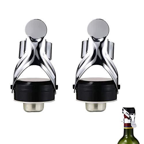 YGHH 2 Pezzi Tappo per Vino in Acciaio Inossidabile, Tappo per Champagne e Spumante, Riutilizzabile Sigillato Acciaio Inossidabile Tappo per Bottiglia di Vino per Champagne, Spumante