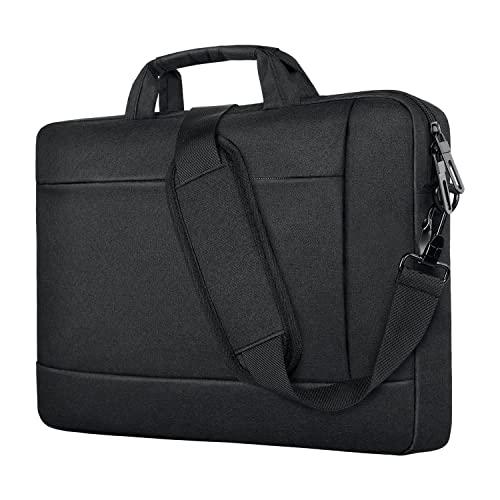 Laptop Bag 15.6 Inch Briefcases for Men Women, Upgrade Office Messenger Shoulder Bag with Strap Durable Computer Bag 14 15 Inch Water Repellent Laptop Sleeve Case Notebook MacBook Travel School Black