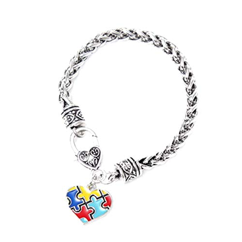 guantongda Gran Corazón Amor Autismo Puntadas Forma de Corazón Antiguo Puzzle Pulsera Vintage para Cumpleaños, San Valentín, Aniversario - Color