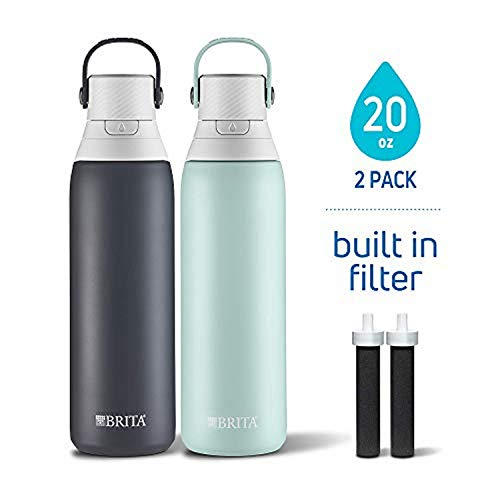 Brita 20 Ounce Premium Double Wall Insulated Stainless Steel Filtering Water Bottles, 2 Pack, Carbon Black/Glacier