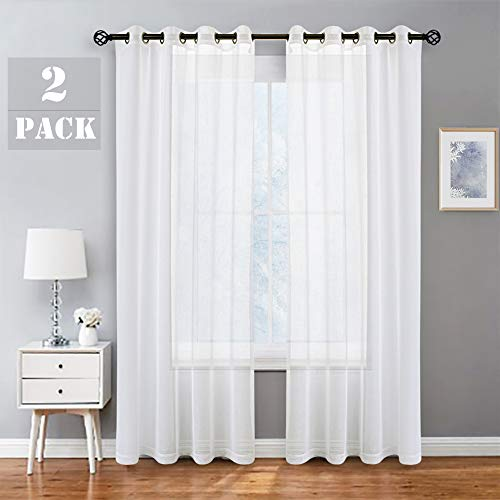 Randall Snow White Linen Sheer Curtain Panel Sets of 2 with Eyelets Open Weave Faux Linen Window Treament for Living Room Bedroom Farmhouse, Elegant Nickel Grommet Top-54x95 Inch