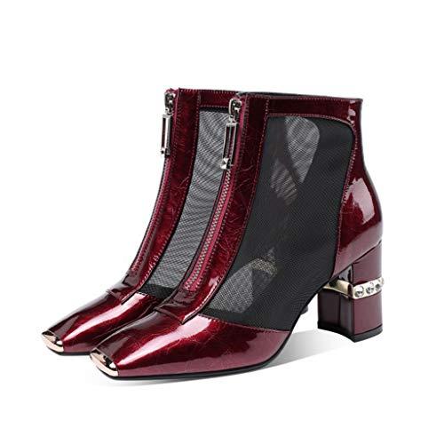 Sandalias tacón de señoras,Sandalia de cuero de fiesta de fiesta de ocio Zapatos de malla con cremallera de dama de honor,Red- 36.5/UK 4/US 6