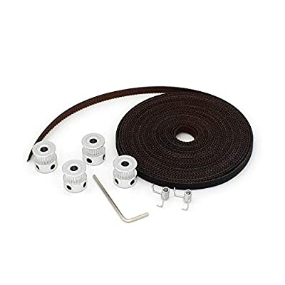 5m GT2 Timing Belt of New Upgrade+4Pcs Bore 5mm 20Teeth Timing Pulley Wheel+2pcs Belt Locking Spring for 3D Printer (Brown)