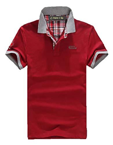 [Make 2 Be] ポロシャツ メンズ カジュアル 半袖 襟元 チェック柄 バイカラー チームカラー 卓球 スポーツ ゴルフウェア ゴルフ ワンポイントロゴ 夏 クールビズ 通気性 速乾 MF19 (43.Red_2XL)