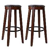 zjyfyfyf Set de Taburete de Bar de 2 Vintage toolols de Bares de Vestir, Silla de Pub de Madera con Asiento Redondo y piernas de Estilo Industrial