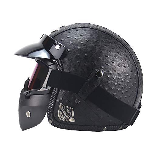 YXDDG Casque de Moto Quatre Saisons Casque Vintage Fait Main personnalité rétro Harley Casque Moto Automobile 3 4 Cuir Casque Demi Casque d'Hommes-Noir XL