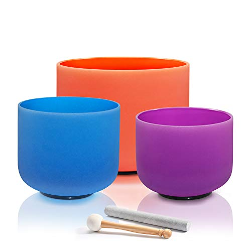 "CVNC Set of 3 PCS Colored 6"" B Note 8"" G Note 10"" D Note Frosted Quartz Crystal singing bowl For Sound Healing Meditation"