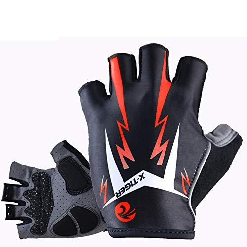 Cycling Gloves Motorcycle MTB Bike Bicycle Men Women Half Finger Breathable Shockproof Absorbing Antiskid 3D Gel Pad Short Mountain Road Summer Sports Riding Outdoor,Orange,L 10cm