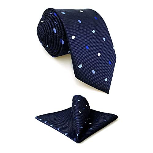 S&W SHLAX&WING Corbatas para Hombre Azul Marino Conjunto de Corbata Paisley Skinny Set de Corbata con Pañuelo de Bolsillo