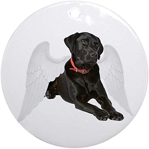 QgjayjqQ Black Lab Angel Ornament (Round) Round Holiday Christmas Ornament Holiday and Home Decor Round Xmas Gifts Christmas Tree Ornaments Ideas 2019