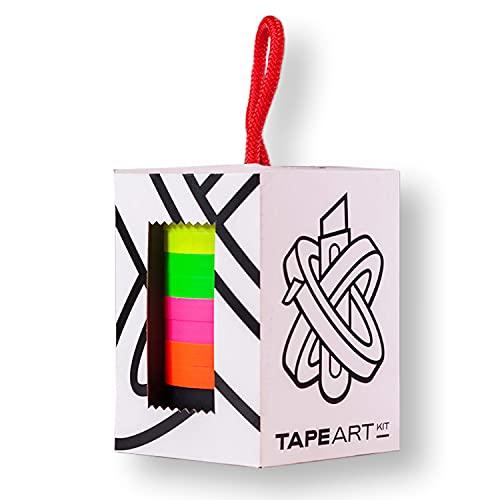 Tape Art Kit Neon   Tape Art Klebeband bekannt aus dem TV   Farbige Klebestreifen für Klebeband Kunst   Kreppband für Wandbilder, Kunst, Handwerk und Beschriftung