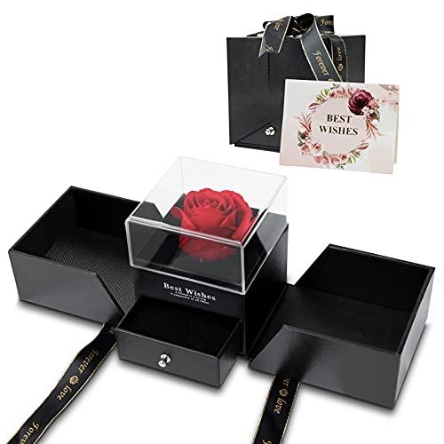 Caja de rosas, regalo de cumpleaños para mujeres, rosa eterna, en caja de regalo, con rosas rojas, flores, regalo para novia, aniversario, cumpleaños, día de San Valentín