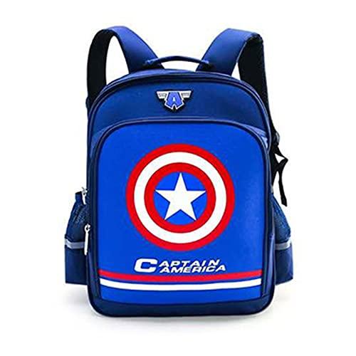 Xyh723 Mochila para Niños Capitán América Libro Escolar Niños Superhéroe Satchel Niño Cosplay De Dibujos Animados Adolescentes Viajes Maleta Al Aire Libre,Blue-One Size
